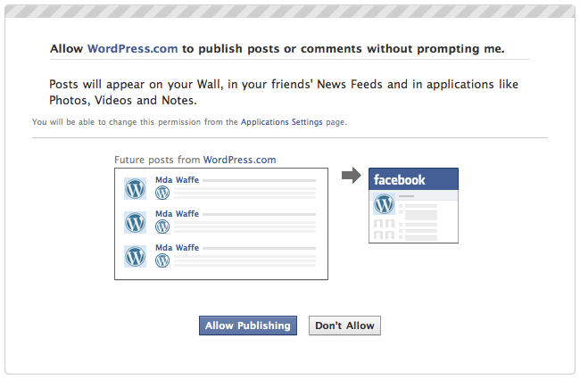 Publicize: Facebook grant publish permission dialog