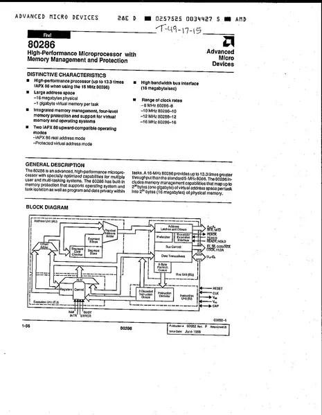 AMD 80286 Datasheet