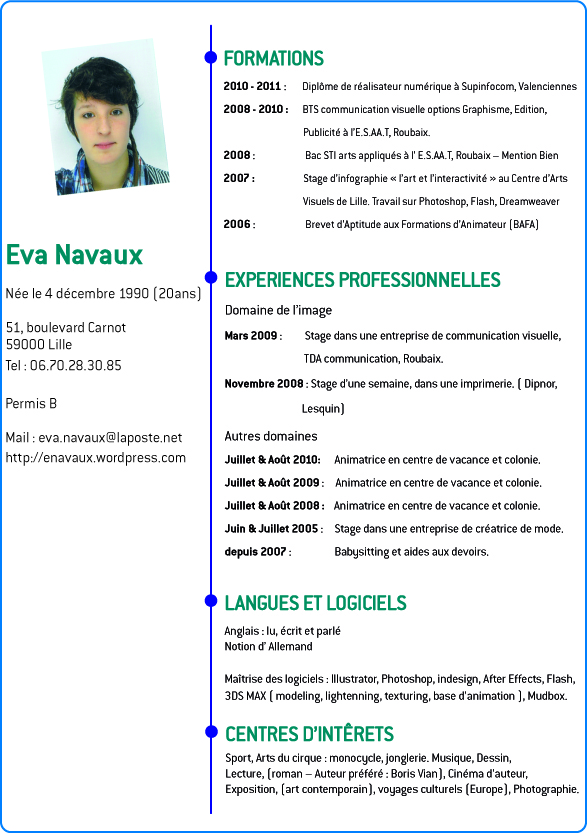 cv communication visuelle stage