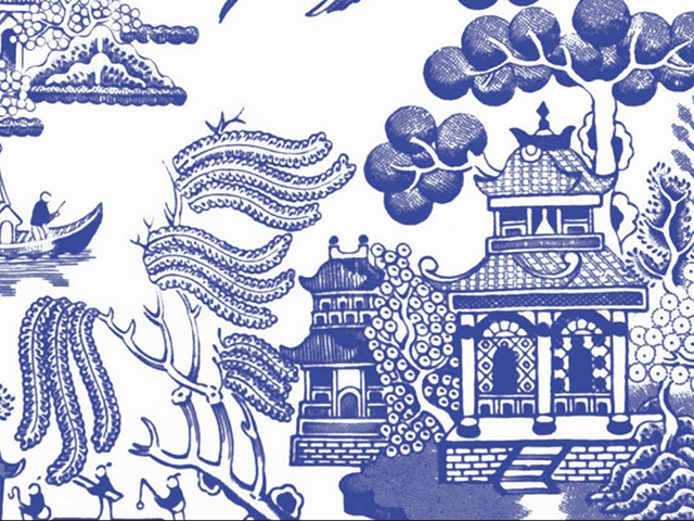 Beautiful Disposable Blue Chinoiserie Placemats In Navy