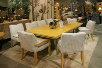 Dining Set with 8 White Chairs and Yellow Wood Table ...