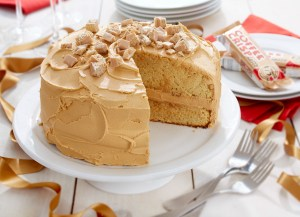 A cake using a Coffee Crisp candy bar, and a hint of that coffee/mocha flavor baked in... click the picture to get the recipe.