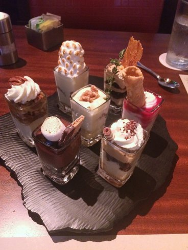 mini indulgence dessert at Seasons52 in Raleigh Values Drive Experiences