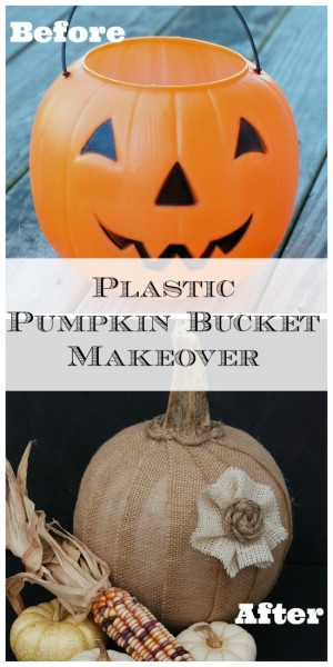 Upcycle a dollar store plastic pumpkin bucket into a gorgeous burlap-covered pumpkin!