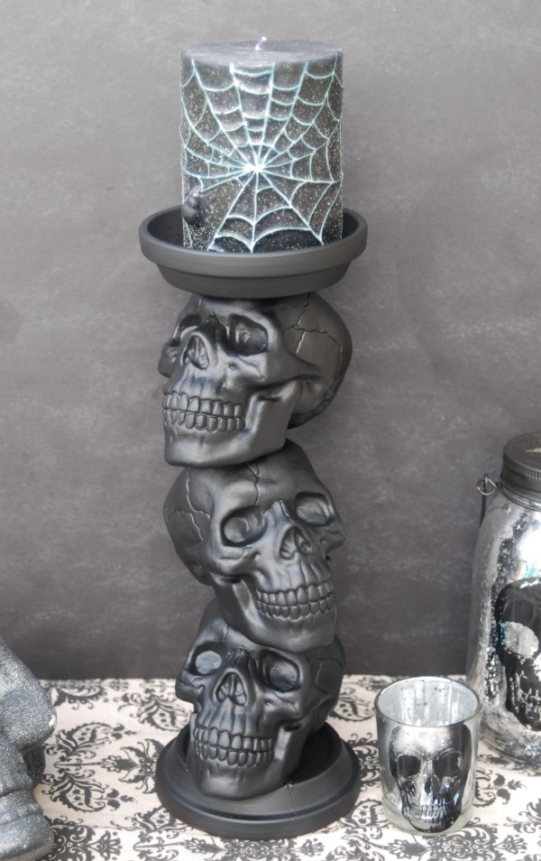 DIY Skull Candle Holder {31 Days of Halloween: Day 21