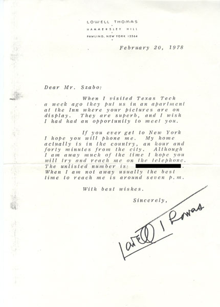 Letter of Admiration from Lowell Thomas to Endre Szabo - Admiration Letter