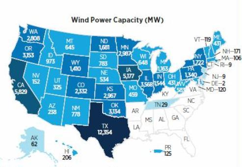 Wind power MW AWEA usa map