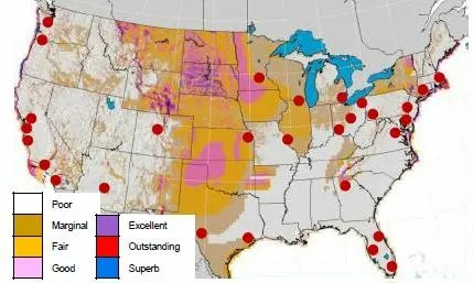 wind resources and densely populated hubs in the US. It appears that only Minneapolis is near good (but not excellent, outstanding, or superb) wind. Source: NREL 2012. Download from the dynamic maps, GIS data, & analysis too webpage (http:/www.nrel.gov/gis/wind.html)