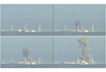 A combination photo made of still images from video footage shows the explosion at Fukushima Daiichi nuclear power complex
