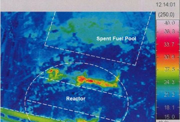 Reactor building of Unit 1, Fukushima Daiichi Nuclear Power Station  Result of temperature measurement by infrared camera from right above the reactor (pictured on October 13, 2011)