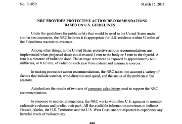 NRC PROVIDES PROTECTIVE ACTION RECOMMENDATIONS BASED ON U.S. GUIDELINES