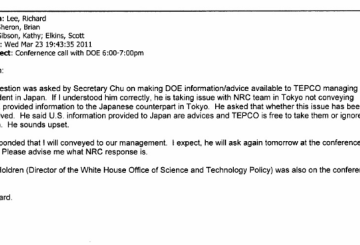 March 23rd, 2011 - NRC team in Tokyo not conveying DOE provided information to the Japanese counterpart in Tokyo