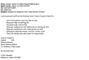 March 14th, 2011 - TEPCO requests US Embassy help extinguish fire at Unit 4