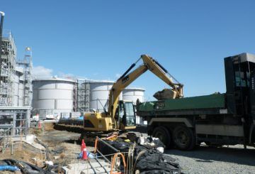 A photo of soil removal operations at the site of the leak from the water storage tanks at Fukushima Daiichi - February 28th, 2014