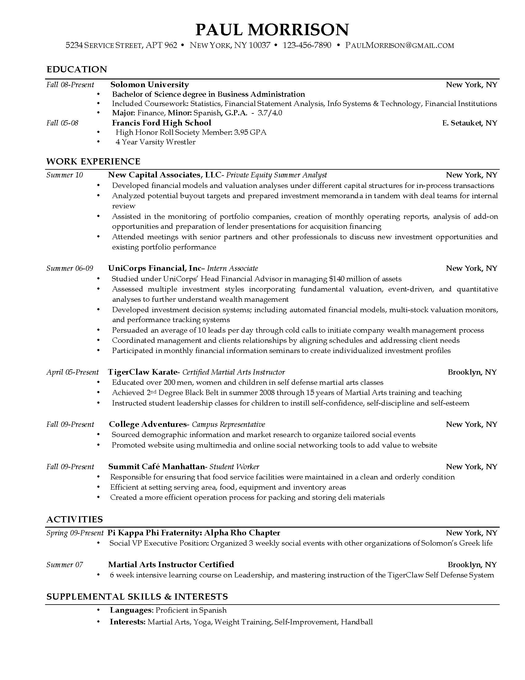 Resume Templates For Highschool Students Resume Writing For High