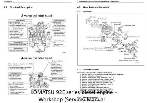 KOMATSU 90, 91, 92, 94 series engine Manuals  Parts Catalogs