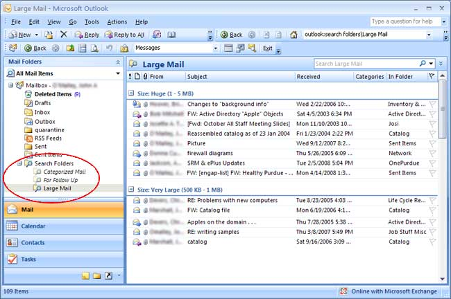 Conserving Space in Outlook 2007 - Engineering Computer Network