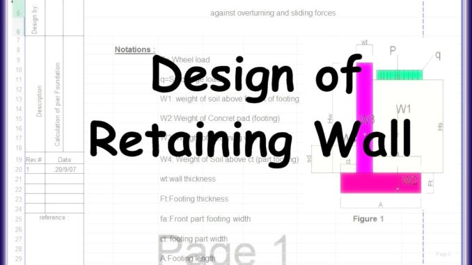 Design of Retaining Wall Excel Sheet - Engineering Feed - Design Of Retaining Walls Examples