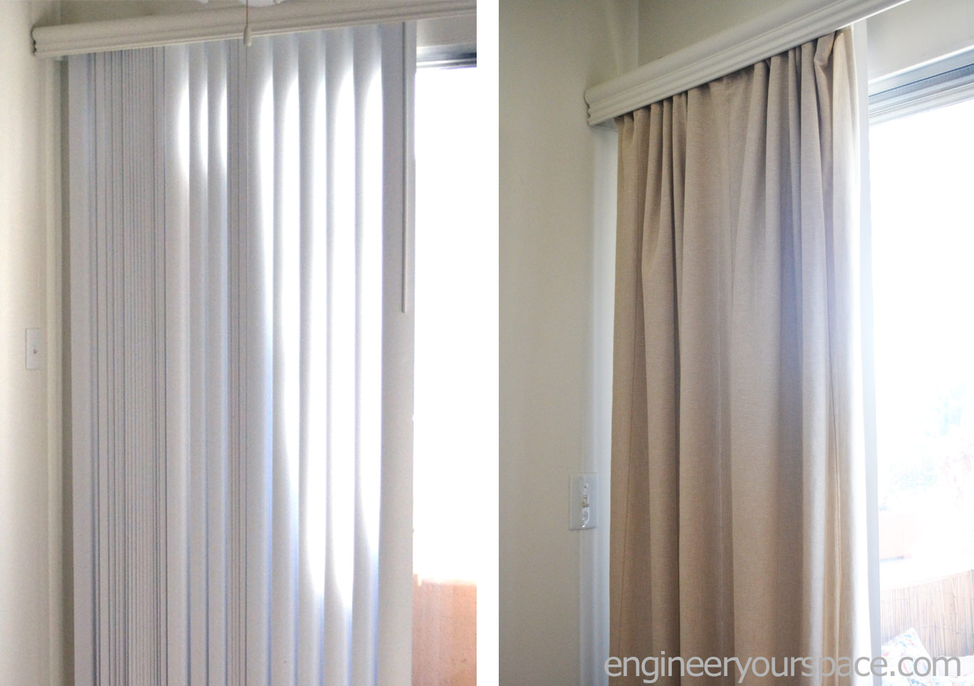 Diy Vertical Blinds How To Conceal Vertical Blinds With Curtains Smart Diy