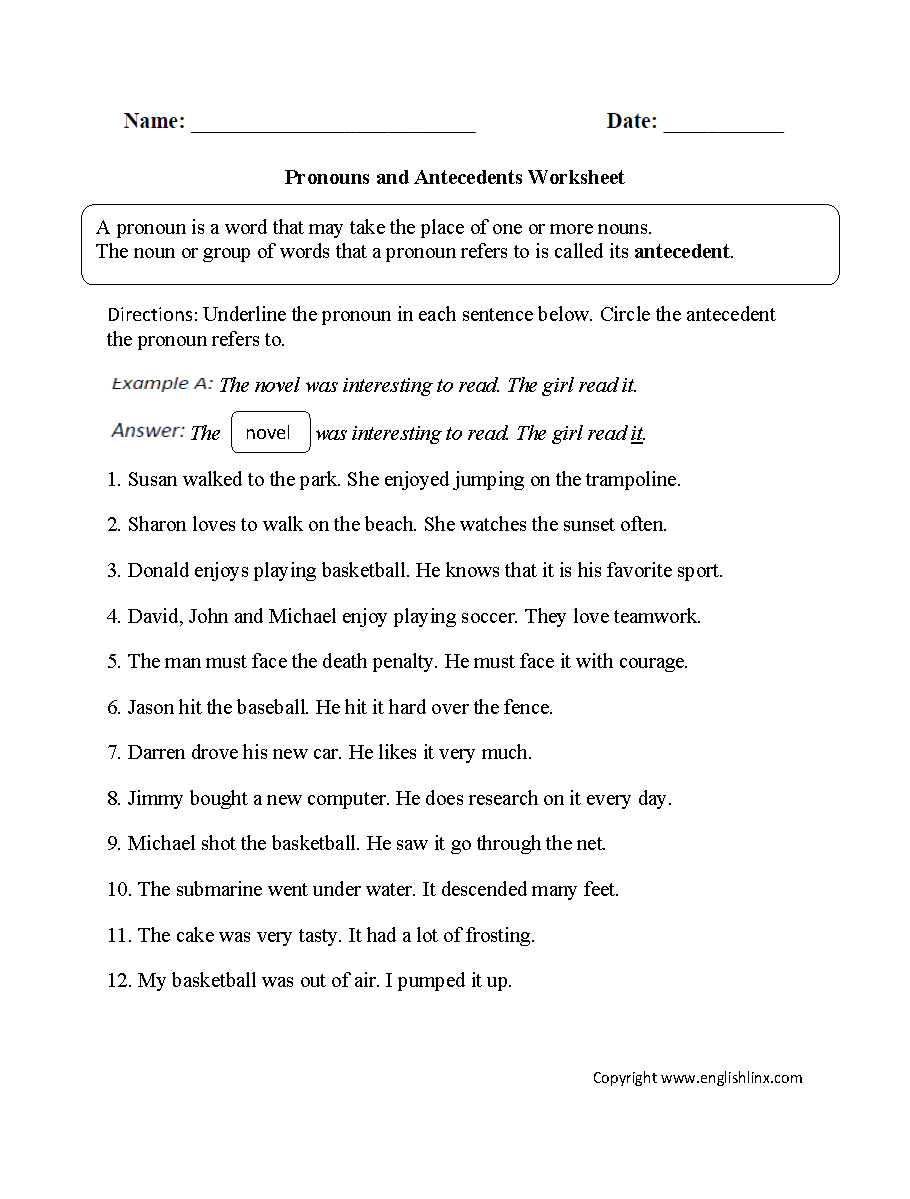 Subject Verb Agreement Quiz Indefinite Pronouns  Resume Maker  multiplication, worksheets, learning, math worksheets, and worksheets for teachers Pronouns Antecedents Worksheets 1199 x 910