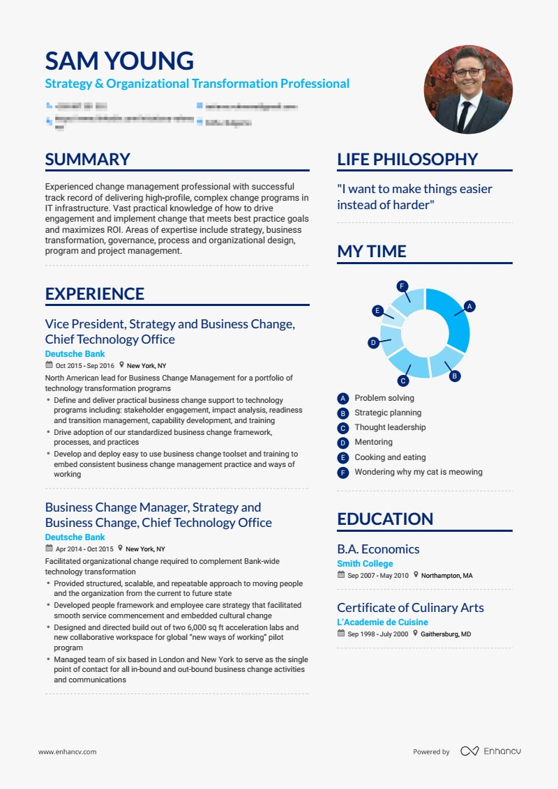 resume for young professional