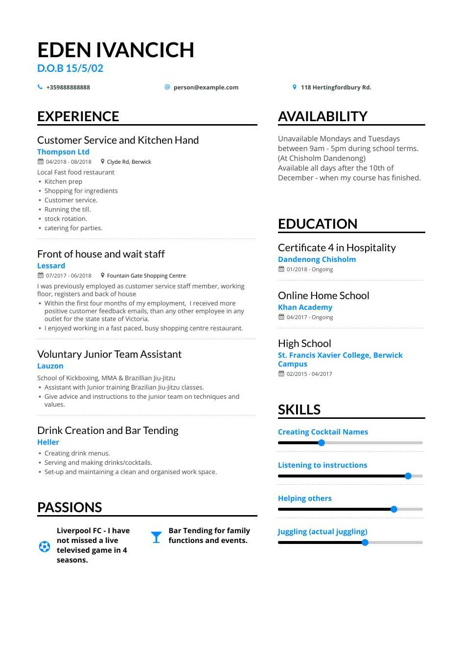 easy to make resume
