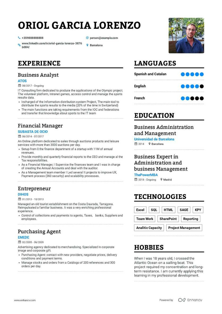 true cv english example internship