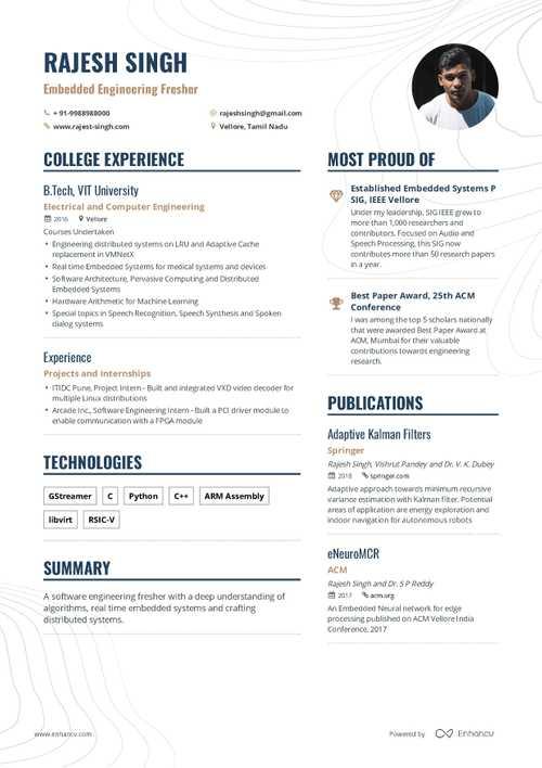 resume samples for freshers