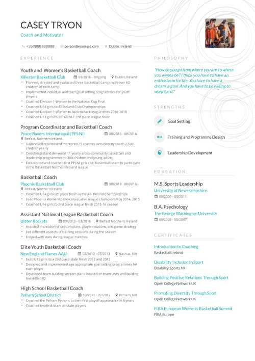 Coaching Resume Example and guide for 2019