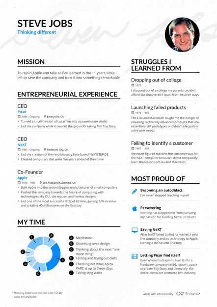 Steve Jobs\u0027 Apple CEO Resume Example Enhancv