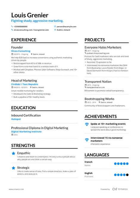 model cv consultant marketing