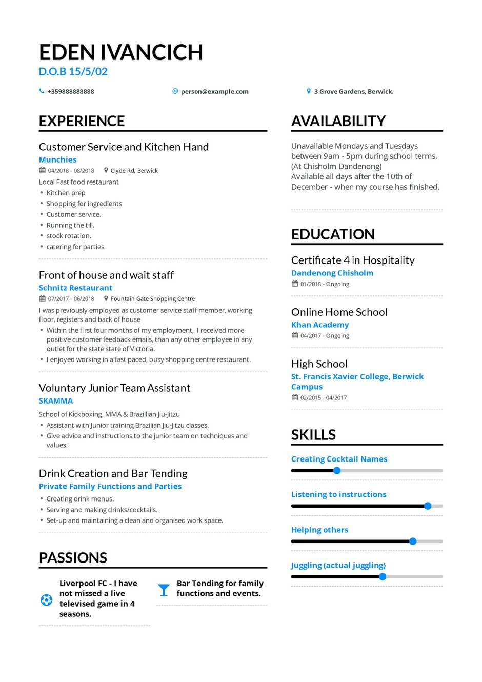 high school student resume example for college