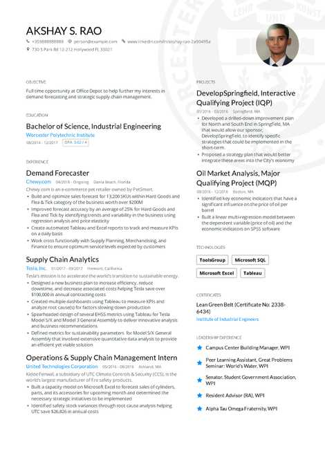 profession engineering resume example