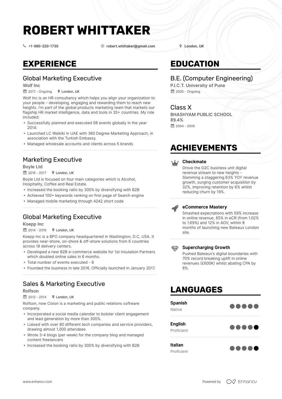 executive resume sections