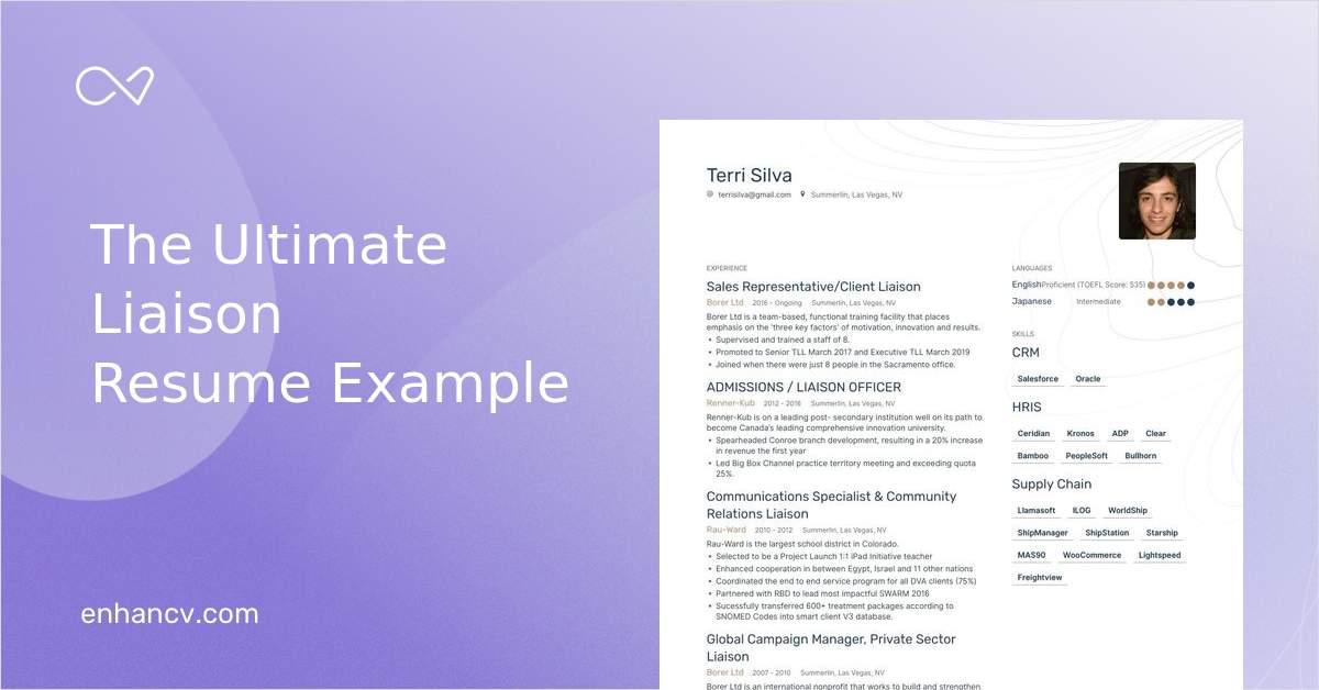 liaison resume sample