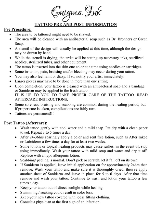 Forms required for tattooing or piercing minors and aftercare - tattoo consent forms