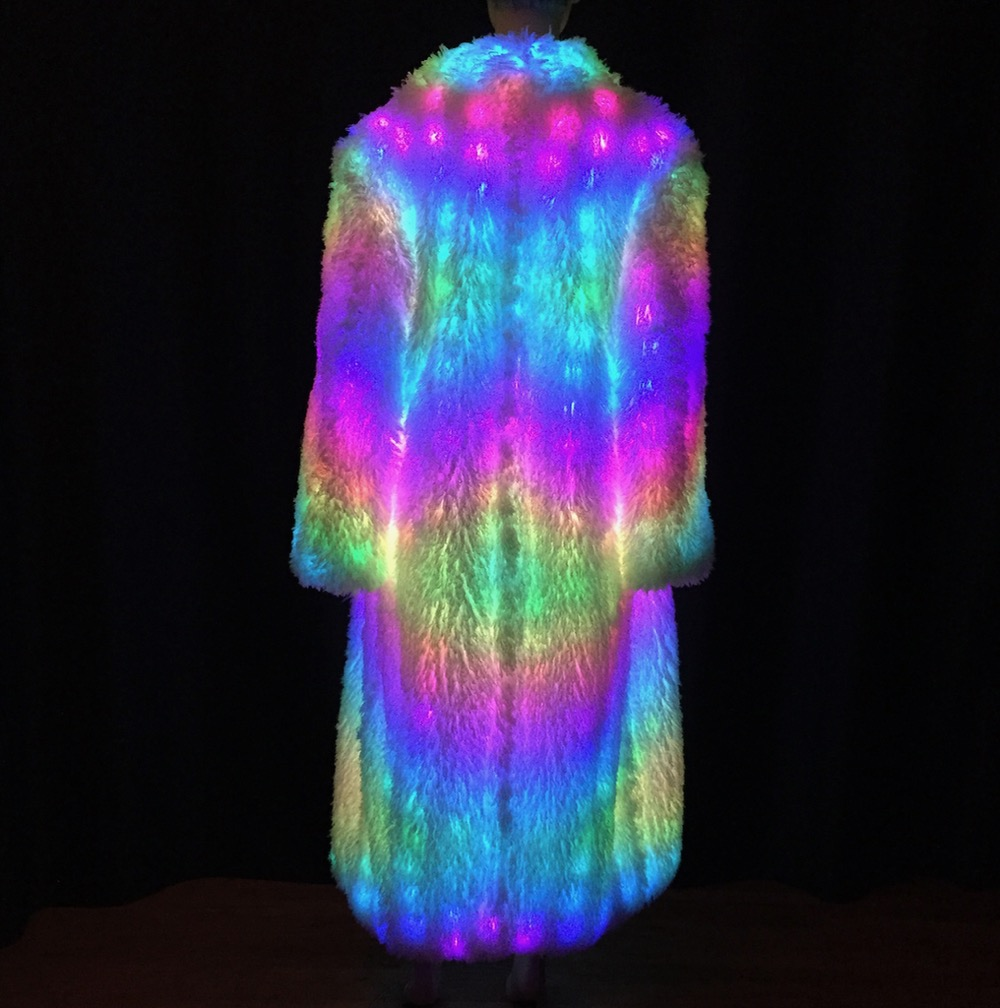 Led White Psychedelic Led Fur Coat Enlighted Designs