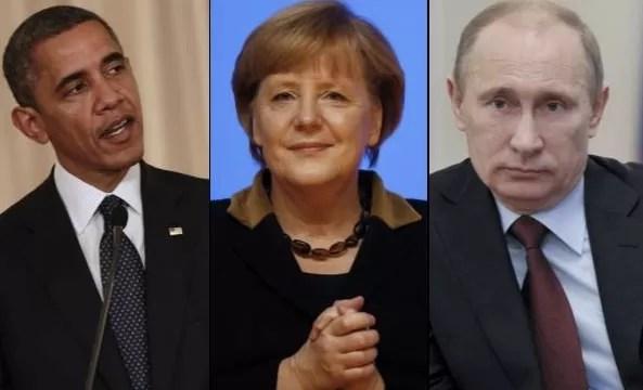 Obama, Merkel y Putin