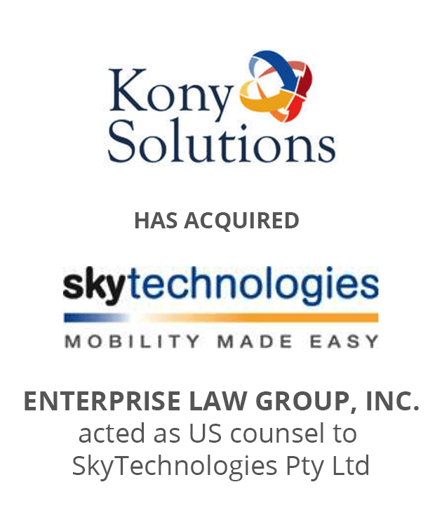 Kony Solutions has acquired SkyTechnologies. Enterprise Law Group, Inc. acted as US counsel to SkyTechnologies Pty, Ltd