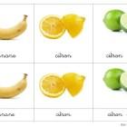 Cartes de nomenclature pour les fruits et les légumes
