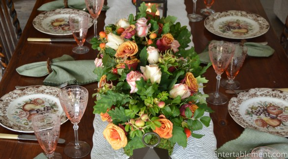 Centrepiece made with oak leaves, beach plums and some tawny coloured roses