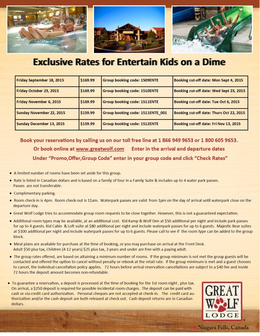 Entertain Kids on a Dime - Sept, Oct, Nov, Dec 2015 - Great Wolf Lodge Booking Flyer