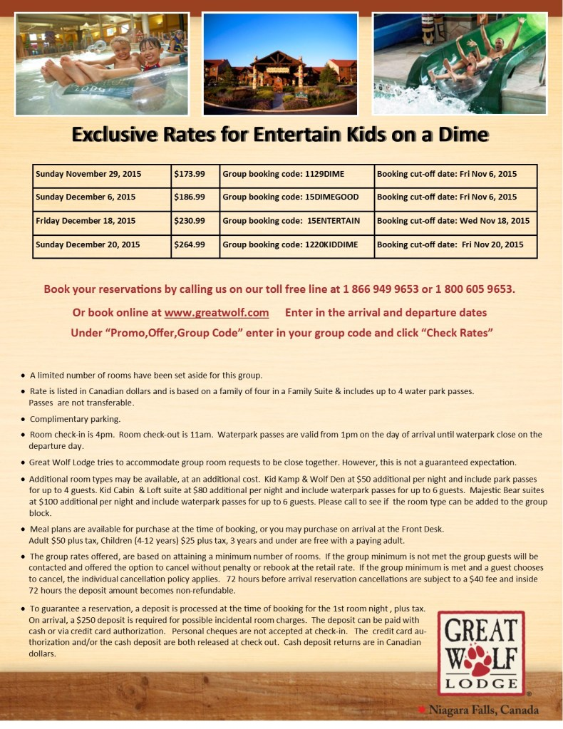 Entertain Kids on a Dime - Nov 29, Dec 6, 18, 20, 2015 - Great Wolf Lodge Booking Flyer