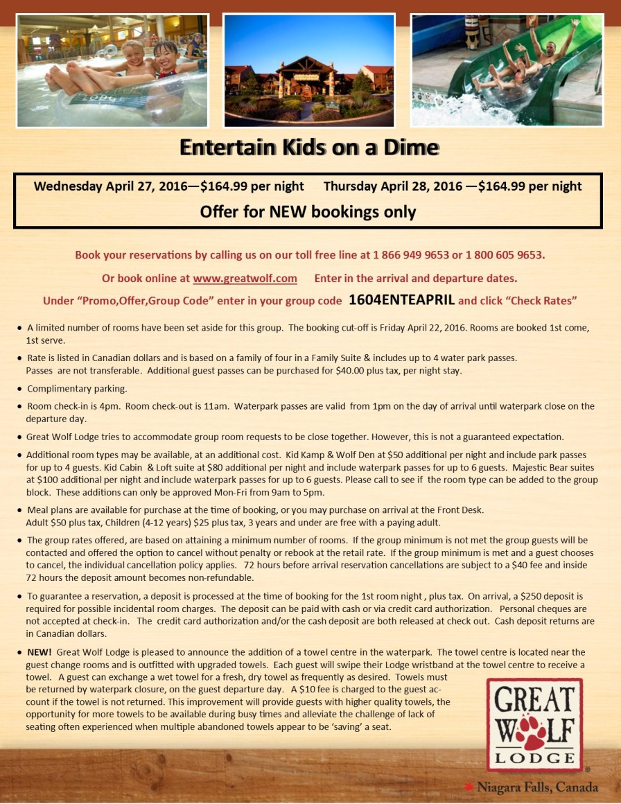 Entertain Kids on a Dime - Booking Information for April 27 & 28%2c 2016 at Great Wolf Lodge
