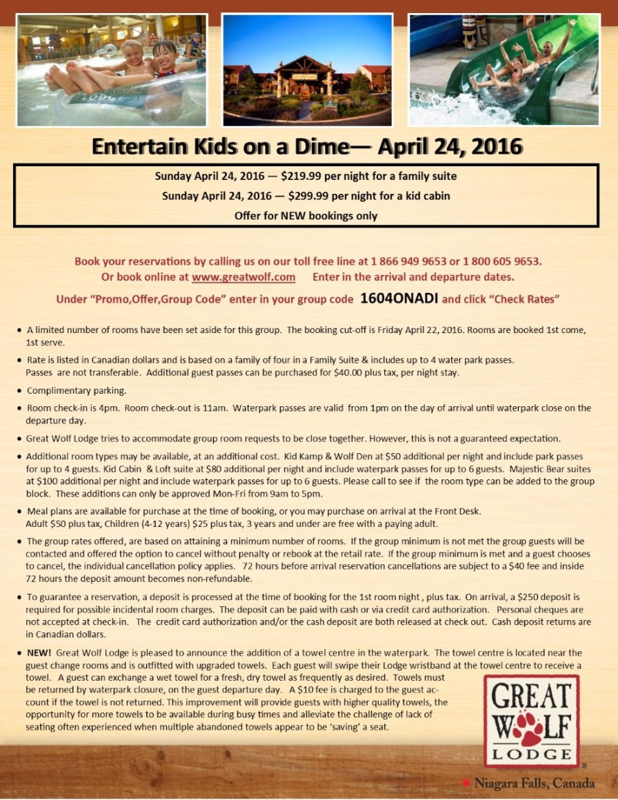 thumbnail_Entertain Kids on a Dime - Booking Information for April 24%2c 2016 at Great Wolf Lodge