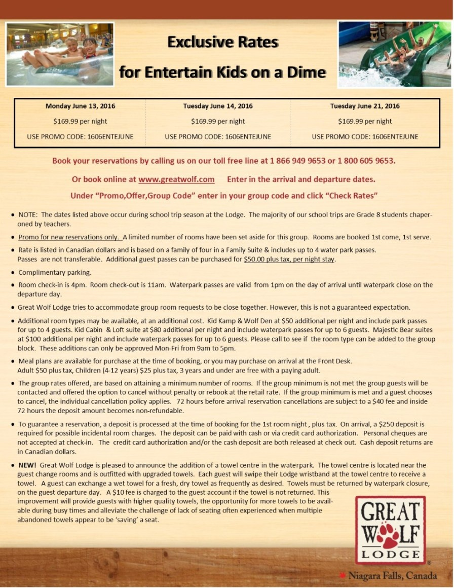 thumbnail_Entertain Kids on a Dime - Booking Information for June 13%2c 14 & 21%2c 2016 trip to Great Wolf Lodge