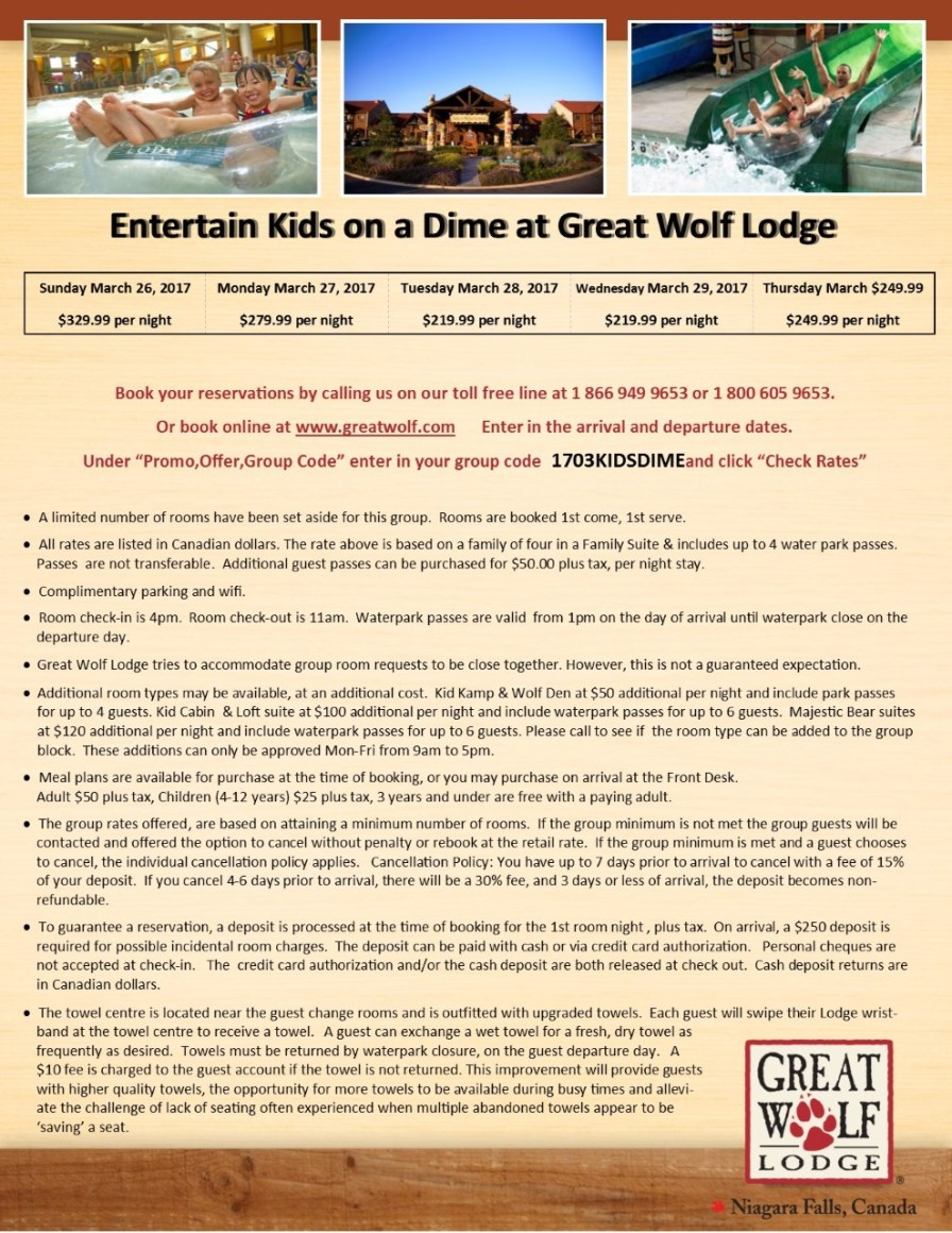 thumbnail_Entertain Kids on a Dime - March 26 27 28 29 & 30 2017 booking flyer for Great Wolf Lodge