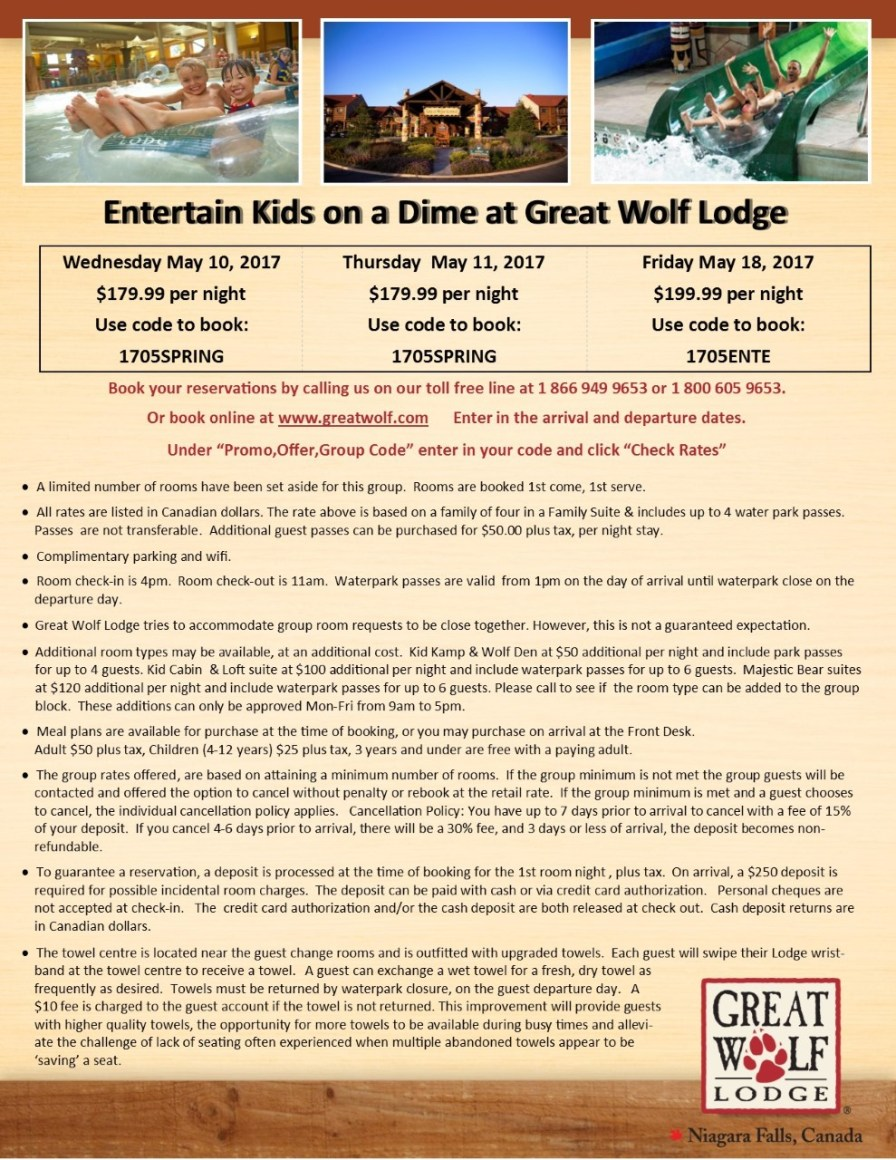 thumbnail_Entertain Kids on a Dime - May 10 11 & 18 2017 booking flyer for Great Wolf Lodge