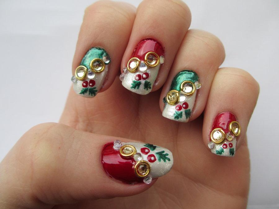 25 Super Cute Christmas Nails Entertainmentmesh