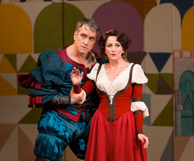 Mike McGowan as Petruchio and Anastasia Barzee as Kate. Photo by T Charles Erickson.